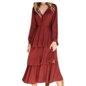 Promesa Red & Black Gingham Dress NWT S